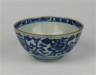 CHIINESE QING BLUE & WHITE PORCELAIN LOTUS BOWL