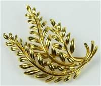 TIFFANY VINTAGE  18KT YELLOW GOLD LEAF BROOCH