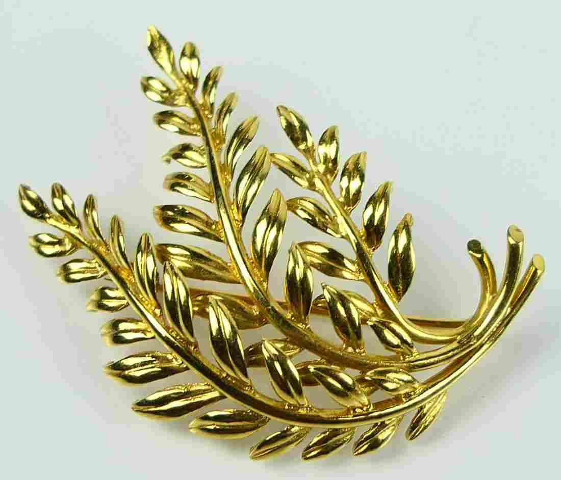 TIFFANY VINTAGE  18KT YELLOW GOLD LEAF BROOCH