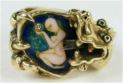 IMPORTANT GENTS 14KT Y GOLD DRAGON RING DIAMOND