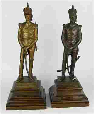 "PAIR OF ANTIQUE BRONZE "" BUENOS AIRES "" SOLDIERS"