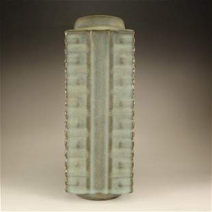 CHINESE QING DYNASTY GREEN GLAZED CONG VASE