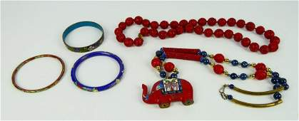 5 CHINESE CLOISONNE RED LACQUER JEWELRY ITEMS