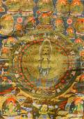 ANTIQUE HAND PAINTED THANGKA OIL WORK ON SILK