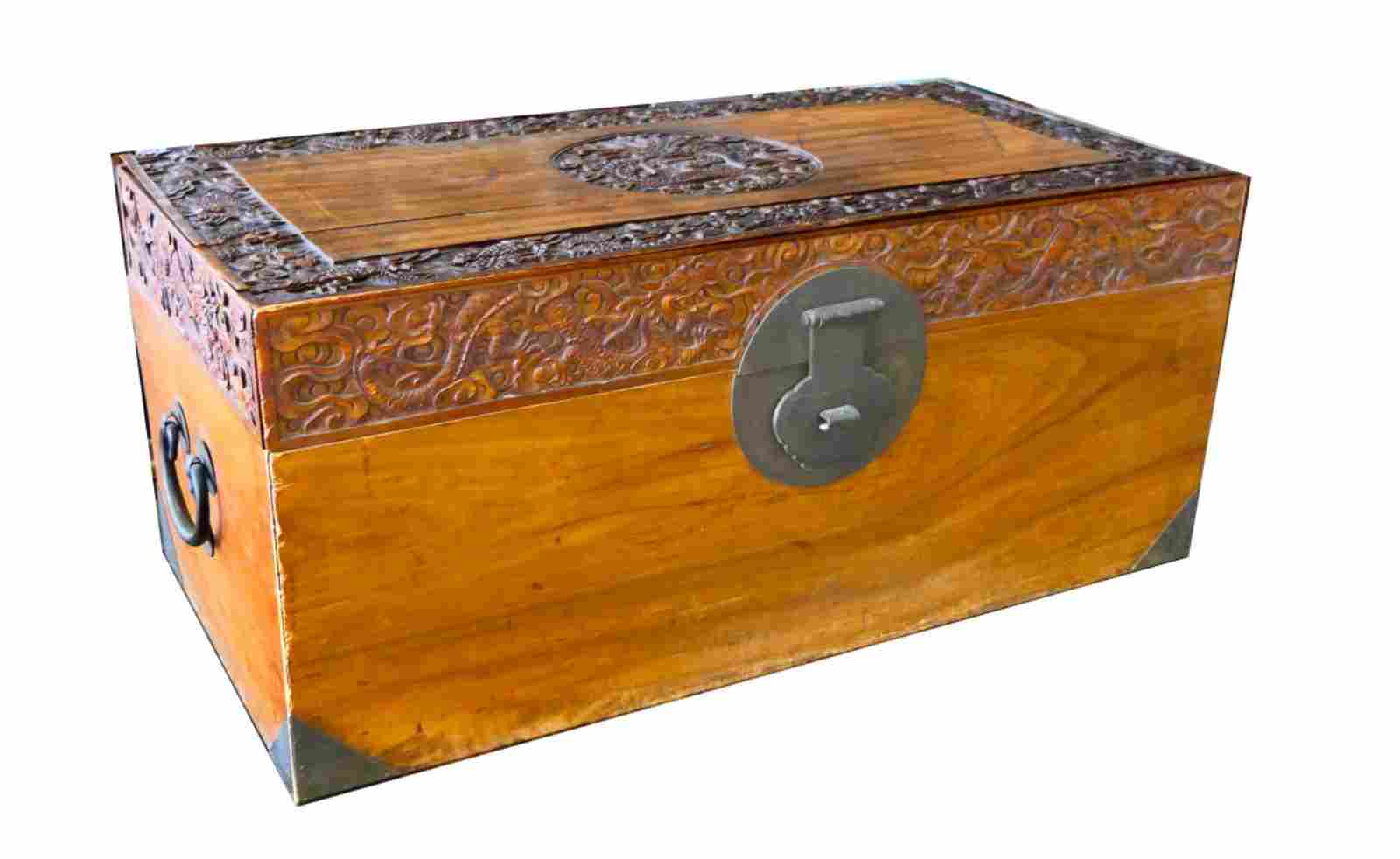 19TH CENTURY CHINESE HEAVILY CARVED CAPTAINS CHEST