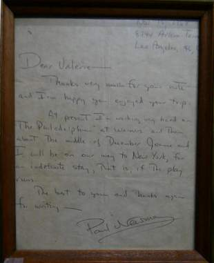 PAUL NEWMAN HAND WRITTEN LETTER GUARANTEED REAL