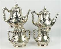 RARE N.HARDING & CO BOSTON COIN SILVER TEA SET