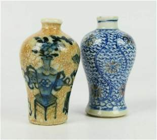 2 CHINESE QING BLUE & WHITE MEI PING SNUFF BOTTLES