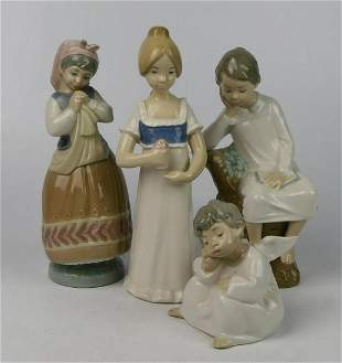 GROUPING 4 LLADRO AND REX PORCELAIN FIGURINES