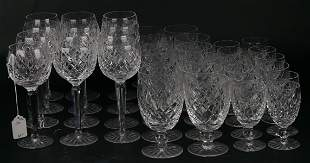 SET OF 36 WATERFORD LISMORE CRYSTAL GLASSWARE