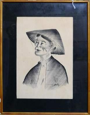 BEKY VIETNAMESE B 1938 PEN AND INK PORTRAIT