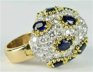 ELLEGANT 14KT Y GOLD 4CT DIAMOND & SAPPHIRE RING
