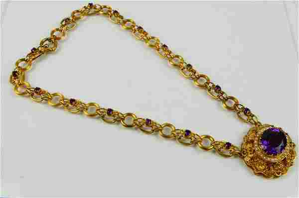 MAGNIFICENT 14KT YG AMETYST PEARL NECKLACE