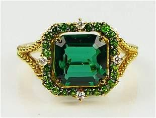GORGEOUS 18KT YG 1 1/2CT EMERALD & DIAMOND RING