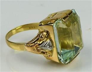 GORGEOUS 18KT Y GOLD 5CT AQUAMARINE DIAMOND RING