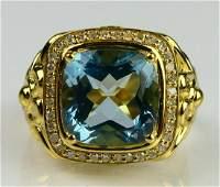GENTS LARGE TOPAZ 18KT Y GOLD DIAMOND RING