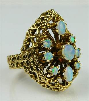 KT YELLOW GOLD 9 OPAL LADIES COCKTAIL RING