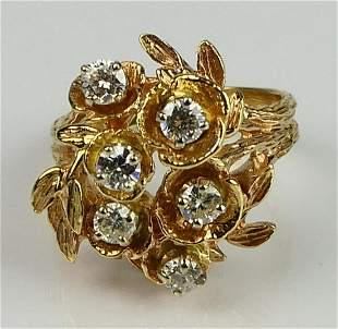 ESTATE 14KT YELLOW GOLD 6 DIAMOND COCKTAIL RING
