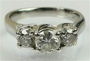 PLATINUM LADIES 3 DIAMOND ENGAGEMENT RING