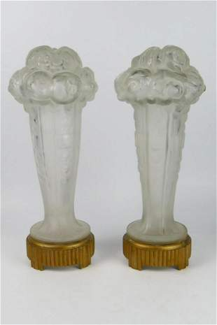 FRENCH DECO FROSTED LAMP SHADES ATT. GENET MICHON