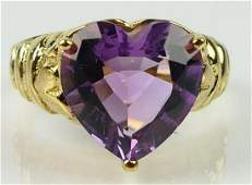 14KT YELLOW GOLD AMETHYST HEART RING