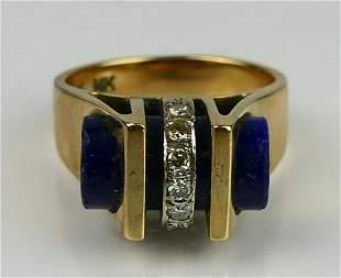 RETRO 14KT YELLOW GOLD LAPIS & DIAMOND RING
