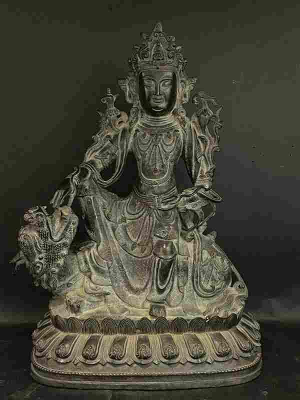 ANTIQUE LARGE CHINESE BRONZE BUDDHA SCULPTURE