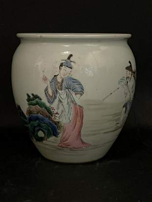 ANTIQUE CHINESE GREEN & RUST PORCELAIN WATER POT