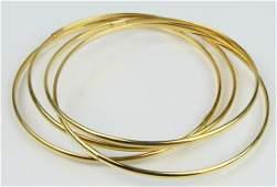 LOT OF (4) ITALIAN 14KT YELLOW GOLD BANGLES
