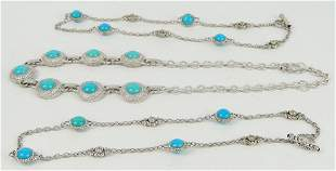 JUDITH RIPKA 3 HEAVY STERLING & TURQUOISE NECKLACE