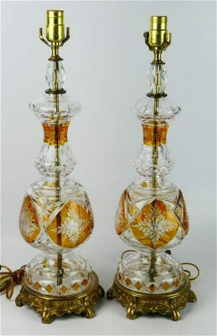 PR MID CENTURY BOHEMIAN AMBER CUT TO CLEAR LAMPS