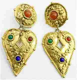 Pr DESIGNER SIGNED GOLD TONE HEART DANGLE EARRINGS