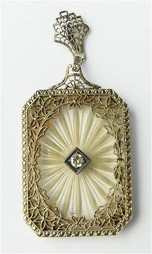 ART DECO & DIAMOND 14KT WHITE GOLD LAVALIER