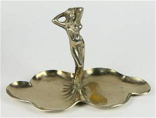 ART DECO SILVERED BRONZE LADY IN REPOSE TRAY