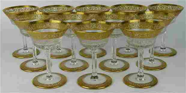 """SET (12) """"GOLD THISTLE"""" ST LOUIS CHAMPAGNE GLASES"""