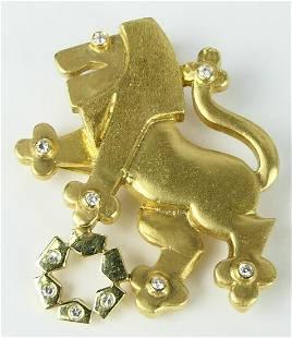 14KT YELLOW GOLD & DIAMOND LION OF JUDAH BROOCH
