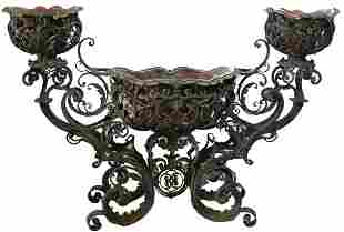 HUGE ANTIQUE WROUGHT IRON PLANTER FROM NAPLES ITAL