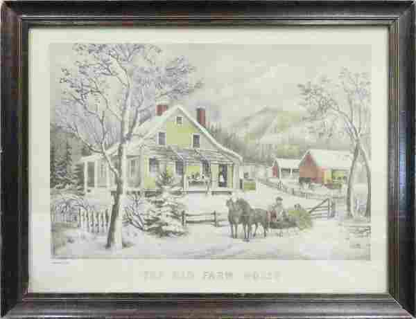 """CURRIER & IVES, COLORED LITHOGRAPH """"OLD FARM HOUSE"""