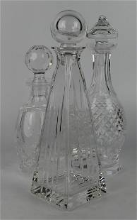 LOT OF 3 CRYSTAL GLASS DECANTERS INC. TIFFANY