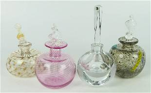 LOT OF 4 VINTAGE PERFUME BOTTLES & STOPPERS