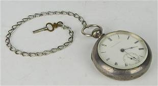 AMERICAN WATCH & CO COIN SILVER POCKET WATCH