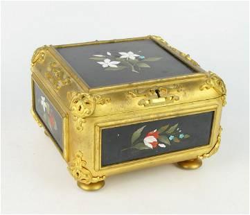 GUTTIN GILT-BRONZE & PIETRA DURA MOUNTED BOX