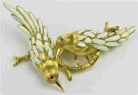 18KT YELLOW GOLD ENAMELED LOVE BIRD BROOCH