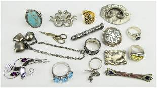 LOT OF 16 STERLING SILVER VINTAGE JEWELRY ITEMS
