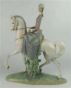 LARGE LLADRO WOMAN ON HORSE # 4516 MADE 1970