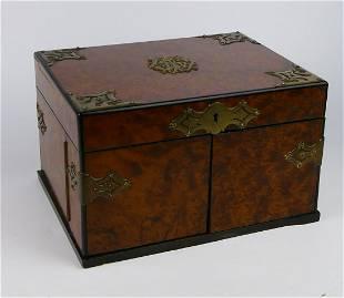 VICTORIAN BURL WOOD JEWELRY BOX