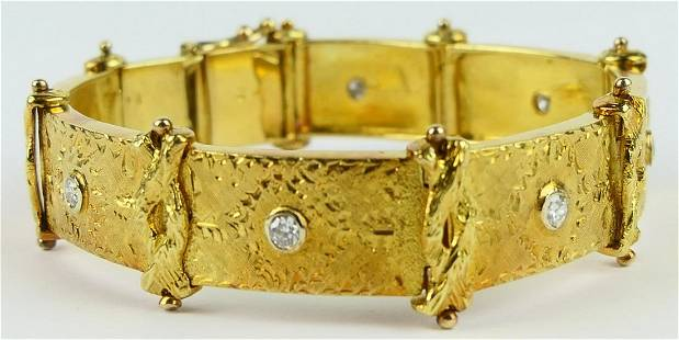 18KT YELLOW GOLD & DIAMOND LADIES BRACELET