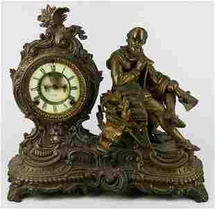 ANTIQUE ANSONIA CLOCK FEATURING WILLIAM SHAKESPEARE