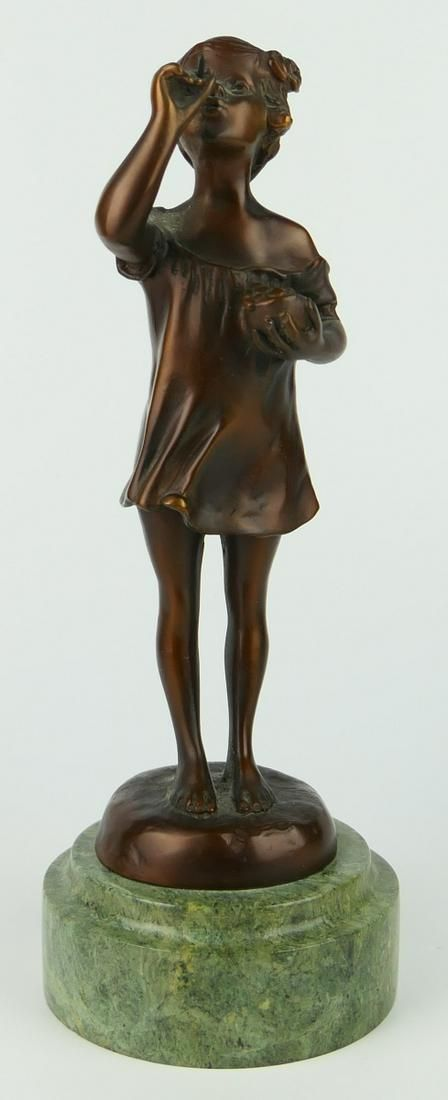 BRONZE FIGURINE OF A GIRL BLOWING BUBBLES