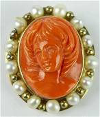 """14K RED CORAL CAMEO W/ PEARL 1 1/4"""" BROOCH PIN"""